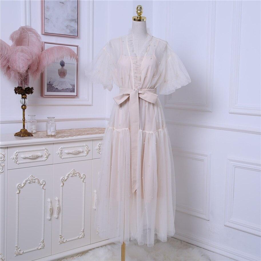2019 Luxury style Women Beautiful Spaghetti Strap Under dress Short Sleeves Mesh Bead Long Dress Female