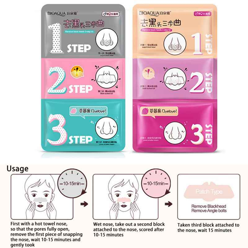 3 passi pig nose mask togli comedone acne remover clear black testa kit beauty clean viso cura cosmetici