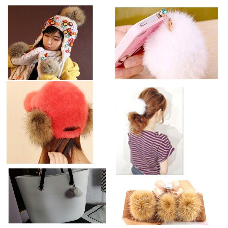 20 färger Real Fur Ball 6cm Pompom Keychain Bil Pompon Kanin Fur - Semester och fester - Foto 5