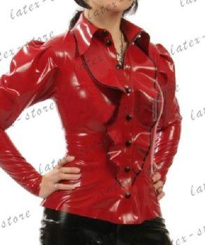 Latex Rubber Gummi ruffles Shirts Tops point collar catsuit customized