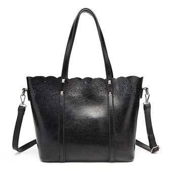 Luxury Women Oil Wax Leather Handbags Retro Vintage Rivets Hollow Out Bucket Shoulder Bags Ladies Large Capacity Tote Bags bolsa
