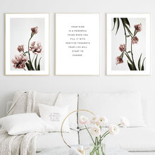 Pink Tulipe Posters And Prints Nordic Poster flowers Wall Art Canvas Painting Quote Wall Pictures For Living Room Modern Picture romantic nordic flowers poster canvas painting wall art pictures for lving room hd posters and prints pink green home decorative