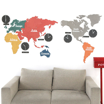 Online shop pinjeas pinjeas big mute acrylic world map clock round large creative colorful world map clock bedroom mute wall clock living room modern hanging clocks decorate gumiabroncs Image collections