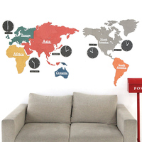 Large Creative Colorful World Map Clock Bedroom Mute Wall Clock Living Room Modern Hanging Clocks Decorate