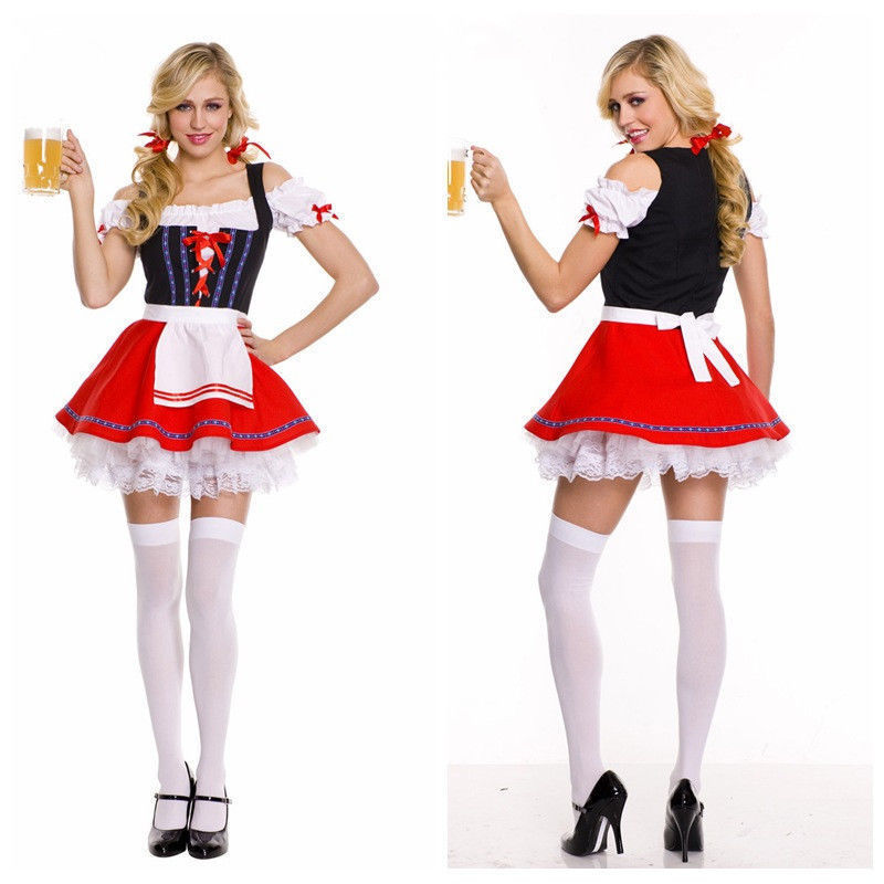 Plus Size Halloween German Beer Girl Costume Female Wench Maiden Costume Fancy Dress Oktoberfest Costume M-3XL