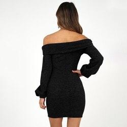 2019 spring women's new cashmere sanding four-color  long-sleeved slim hip dress 4