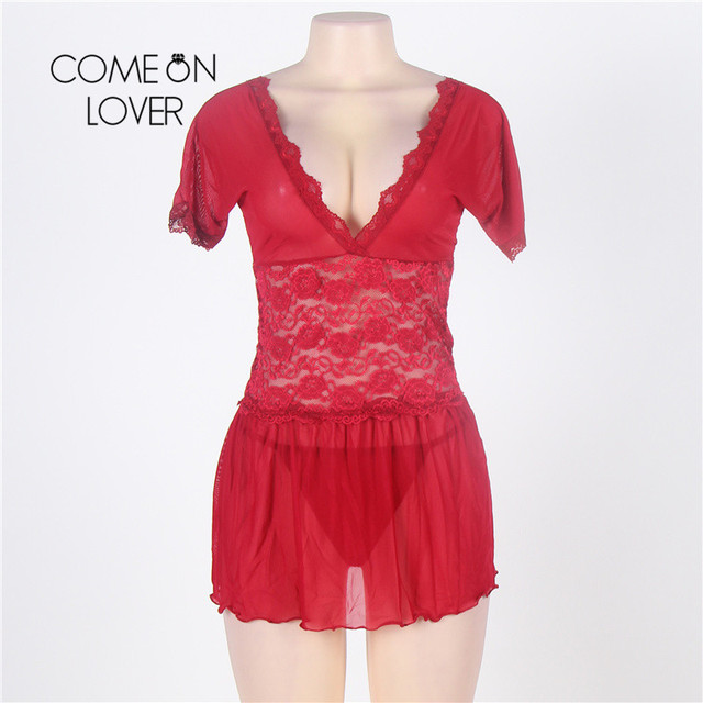 RI70335 Comeonlover Sexy Lingerie Lace Deep V Plus Size Lingerie Sleepwear V Back Langerie Sex Red Women Sexy Lingerie Babydoll 3
