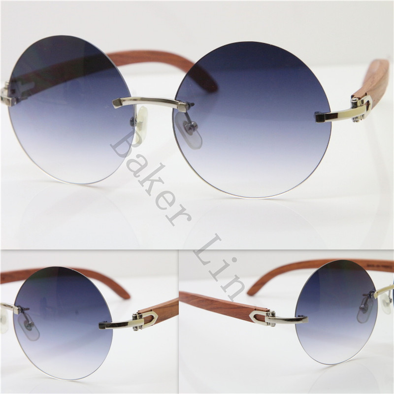 3ed2a81eafb High end brand Rimless Sunglasses 3524012 Round Men Vintage Black ...