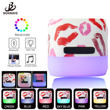 Portable Wireless Bluetooth Speaker with Led Light Color LED Lamp Speaker for Kids and Girls bluetooth speaker nillkin 2 in 1 phone charger power bank music box speaker portable multi color led light lamp outdoor bedroom