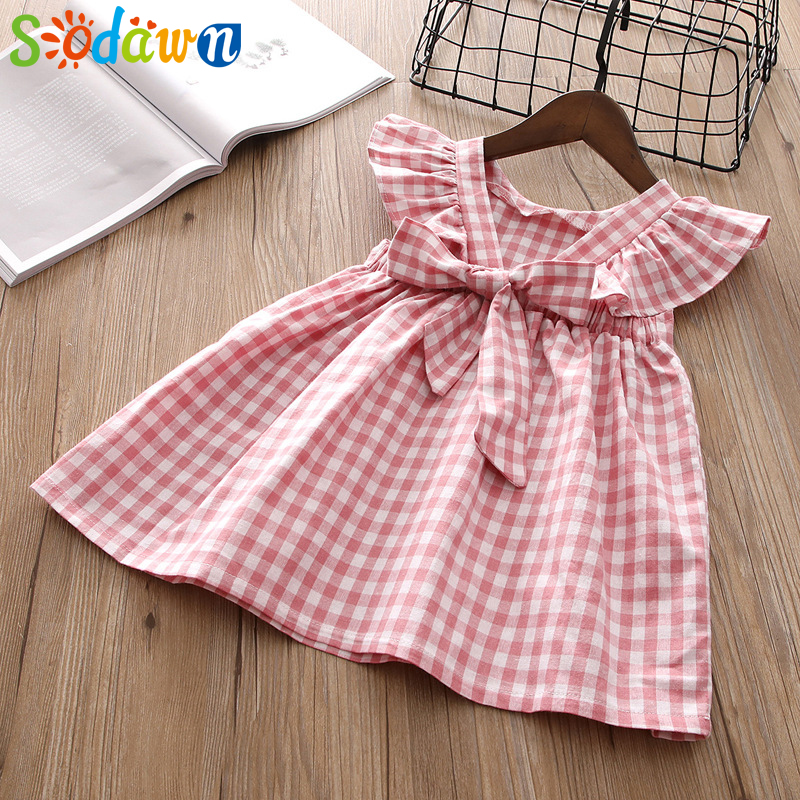 Sodawn 2018 New Product Summer Children Clothing Wear Girls Clothes Stripe Tartan Back Sleeve Sweet Princess Dress Kids Clothing