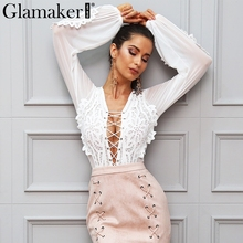 Glamaker Hollow out mesh white lace blouse shirt Women tops transparent lace up casual blouse See-through female blouse blusas