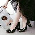 Высокое качество на высоких каблуках насосы толстый каблук элегантные женские туфли 2017 черные каблуки женщин розовые платья выпускного вечера обувь сексуальные свадебные туфли невесты