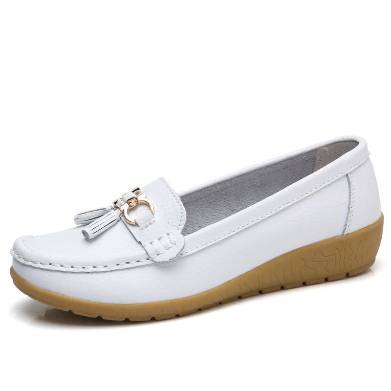 Mstacchi 2019 Nieuwe Mode Kwasten Echt Lederen Schoenen Vrouw Zachte Erwten Schoenen vrouwen Casual Enkele Schoenen Dames Rijden Schoenen