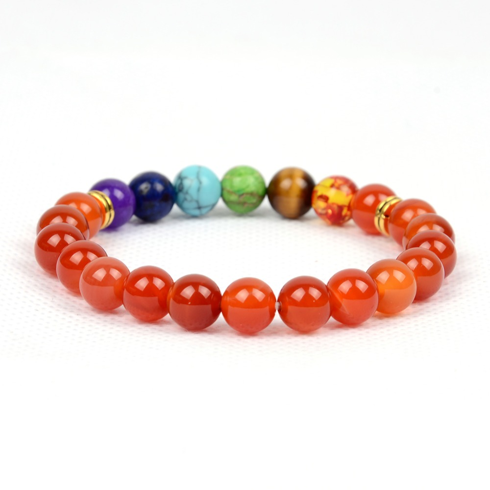 "Green Moss Agate Bracelet Crystal 8mm Round Beads Healing Stone Quartz Unisex 7/"""