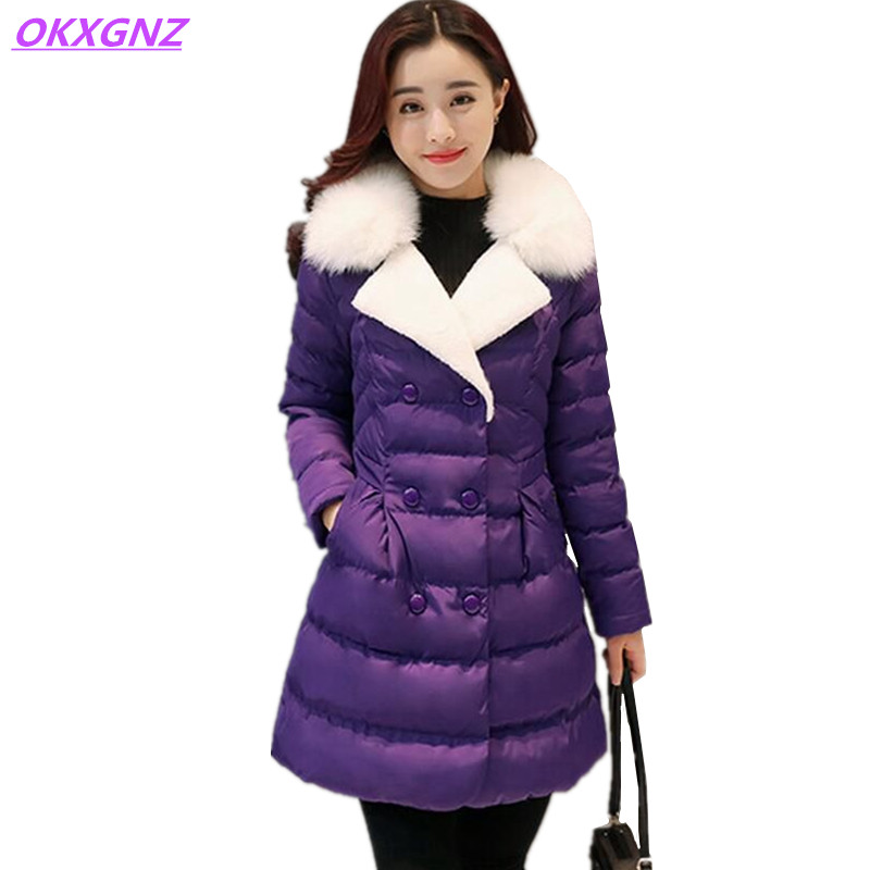 Down Cotton Jackets Winter Warm Women Coats New Fashion Fur Collar Thicker Parkas Plus Size Medium Length Slim Outerwear OKXGNZ winter women s cotton jackets new fashion hooded warm coats solid color thicker casual tops plus size slim outerwear okxgnz a735