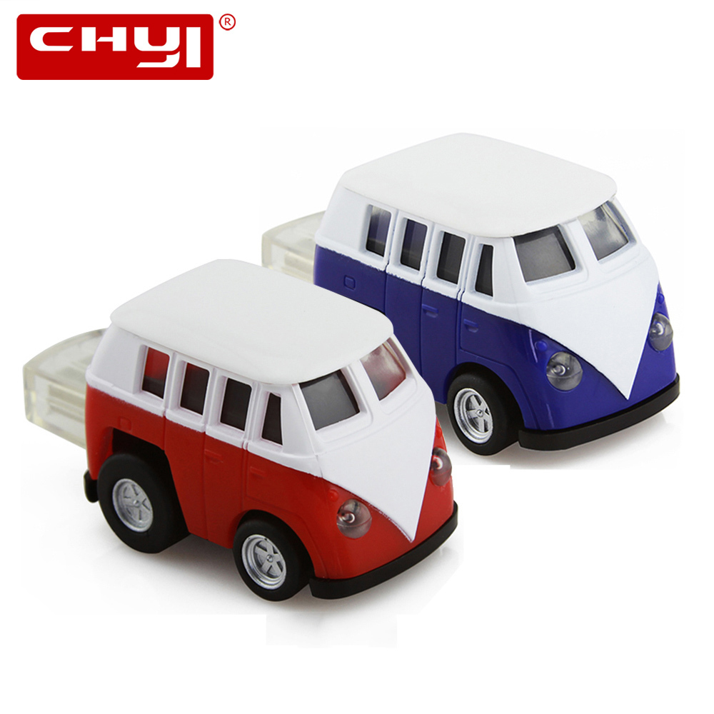 цена на CHYI VW Bus USB 2.0 Flash Drive Pendrive Mini Car Model Blue Red Memory Stick Pen Driver 4GB 8GB 16GB 32G 64GB U Disk For Gift