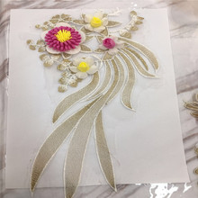 3D Rhinestone Flower Embroidery Applique Patches Sew on Lace Fabric Motif Clothes Decorated DIY Iron On Supplies
