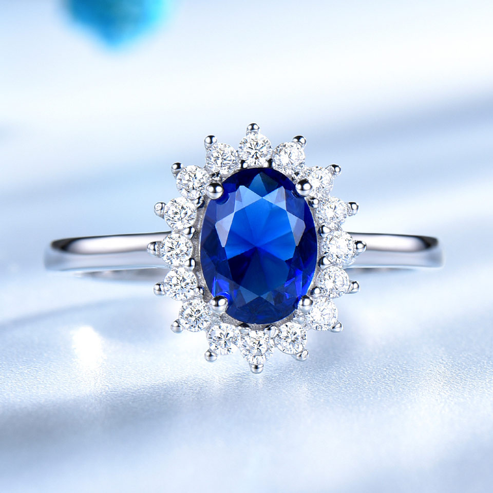 UMCHO Princess Diana Rings 925 Sterling Silver Jewelry Created Sapphire Rings Best Anniversary Gift For Women Fine Jewelry