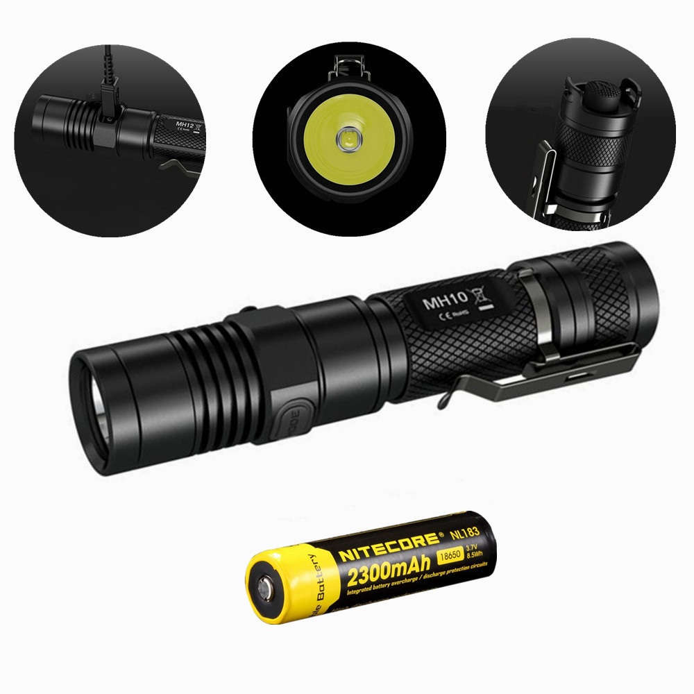 Nitecore MH10 USB charging 1000Lm Cree XM L2 U2 LED flashlight with Nitecore 18650 Nl183 battery