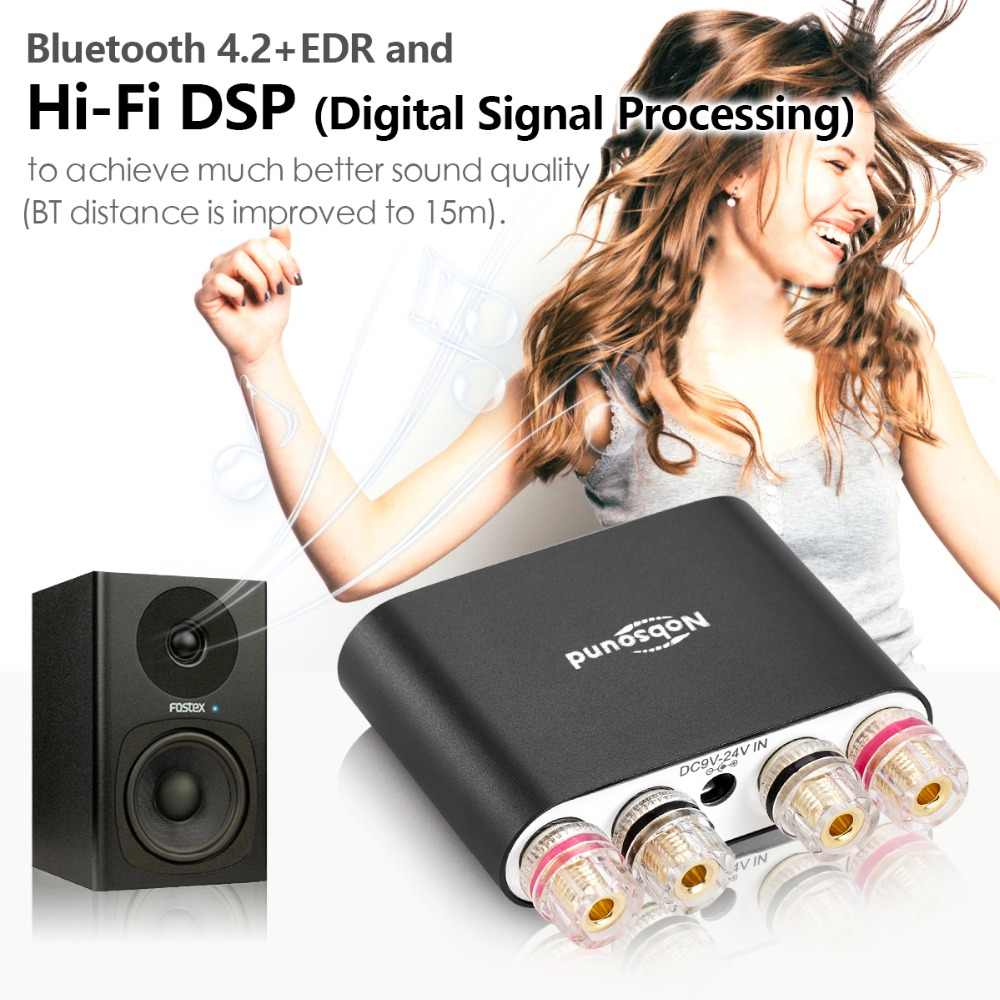 2020 Nobsound Hi-fi Digital Amplifier Stereo Mini DSP Bluetooth 5.0 Audio Rumah Desktop Power Amplifier 50W * 2 HITAM