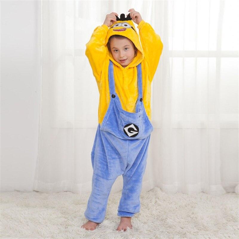Children Pajama Animal Onesies Kigurumi Girl Boy Party Cartoon Overalls Minions Chi Stitch Winter Flannel Suit