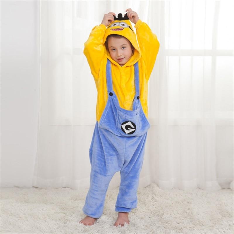 Children Pajama Animal Onesies Kugurumi Girl Boy Party Cartoon Overalls Minions Chi Stitch Winter Flannel Suit