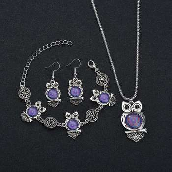 MissCyCy Ancient Silver Color Owl Jewelry Set New Synthetic Blue Stone Pendant Necklace 4