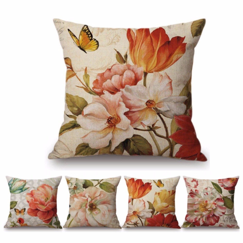 45x45 cm Watercolor Retro Flower Home Decorative Pillow Cover For Sofa Vintage Rose Lily Cotton Linen Office Chair Cushion Cover