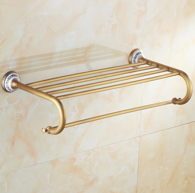 blue and white porcelain design antique brasstowel rackmodern bathroom accessories towel bars shelf - Bathroom Accessories Towel Bars