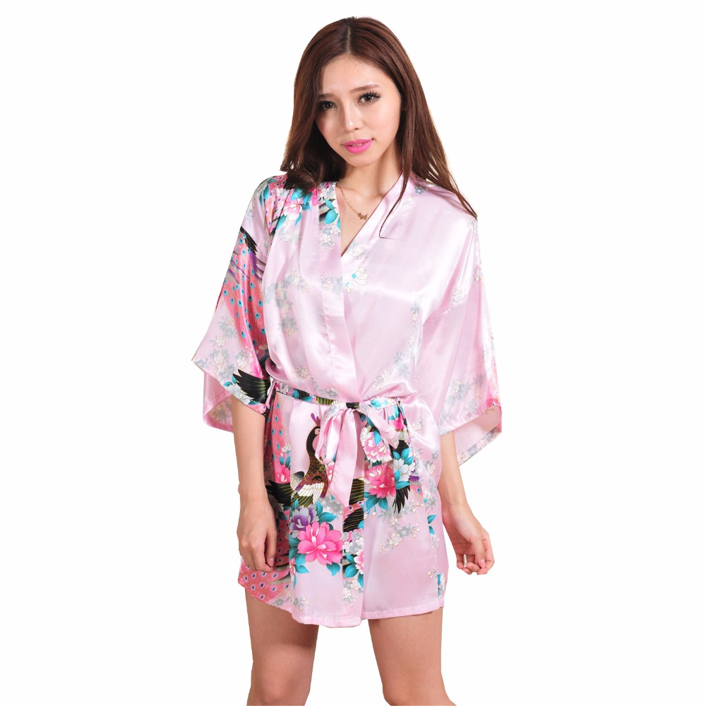 Sexy Mini Pink Chinese Traditional Women Silk Robe Novelty Kimono Yukata Pajamas Printed Nightgown S M L XL XXL XXXL RB129