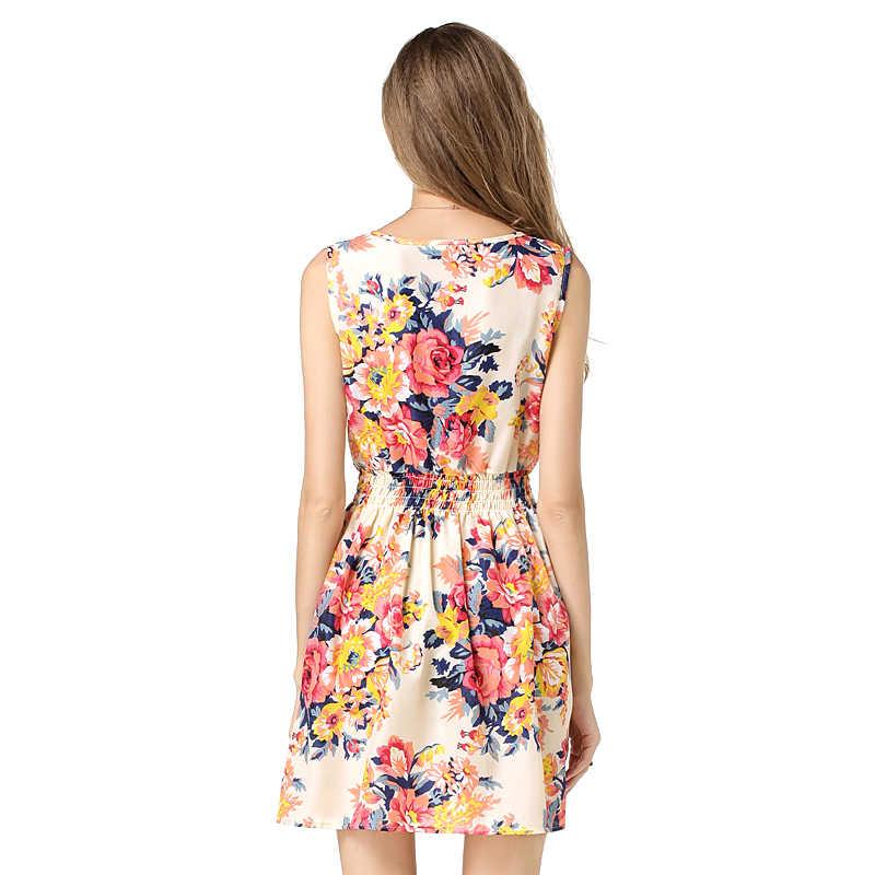 Thời trang Áo Phụ Nữ Ăn Mặc 2017 Kích Thước lớn XXL O-Cổ PHỤ NỮ ĂN MẶC Phong Cách Mùa Hè Floral Print Casual Dresses Women Vestidos Người Phụ Nữ