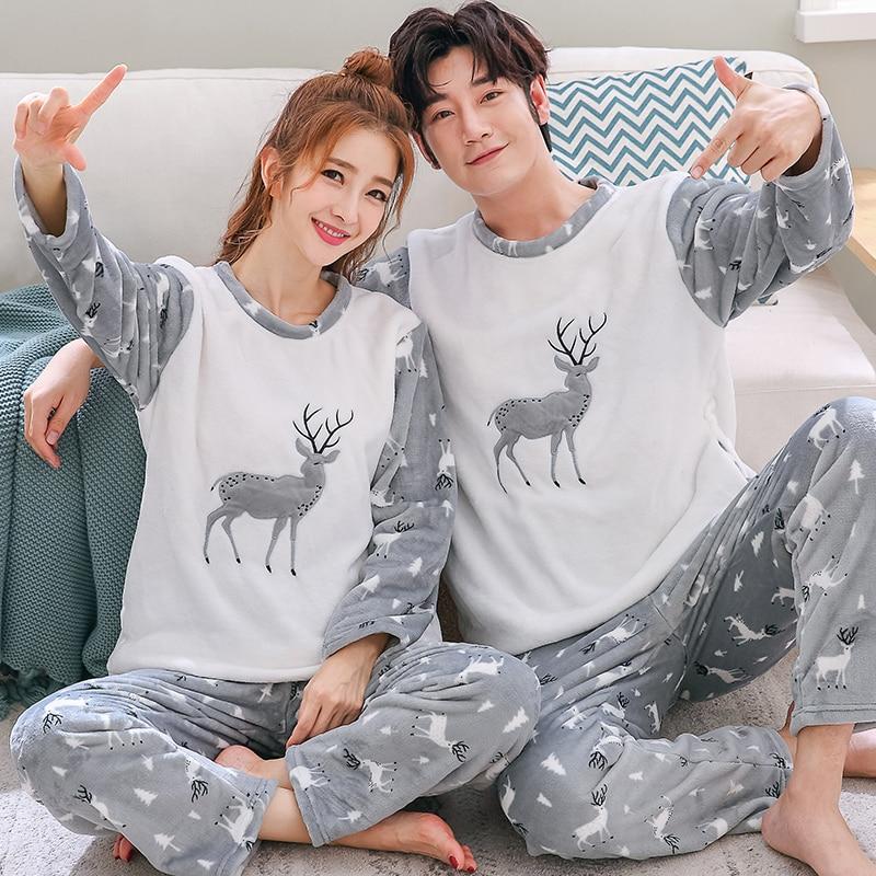 Brand Winter Long Sleeved Men Flannel Thick   Pajamas   Coral Fleece Couple   Pajama     Sets   Cartoon Pyjamas Women Homewear Plus Size 3XL