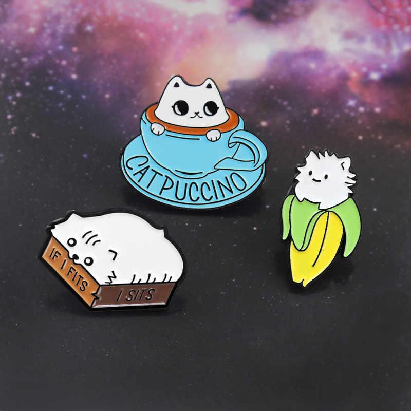 Kartun Kucing Puccino Bros untuk Wanita Lucu Pisang Jika Aku Cocok Cangkir Kopi Kucing Hewan Enamel Pin Pakaian Topi Lencana aksesoris