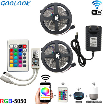 RGB led הרצועה גמיש פס אור DC 12 V SMD 5050 10 M ruban ledstrip צבע מוסיקה + WiFi בקר + מתאם מתח האיחוד האירופי/ארה