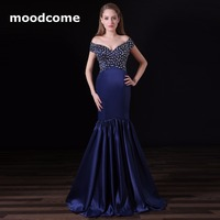 2018 Simple Cheap Prom Dresses Satin Beading Mermaid Off the Shoulder Sweep Train Custom Made Plus Size Formal Evening Gowns