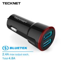 TeckNet Dual 2 Port USB Car Charger Adapter 5V4.8A 24W Mini Car Charger Smart Charging Cigar Socket For iPhone 7 Samsung Xiaomi