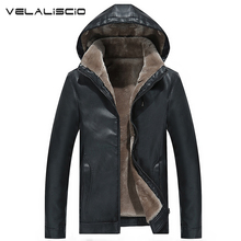 VELALISCIO Winter Leather Jacket 2017 Men's Casual Fashion Jackets Lapel Black and Brown Zipper Faux Fur Men High Quality Coat