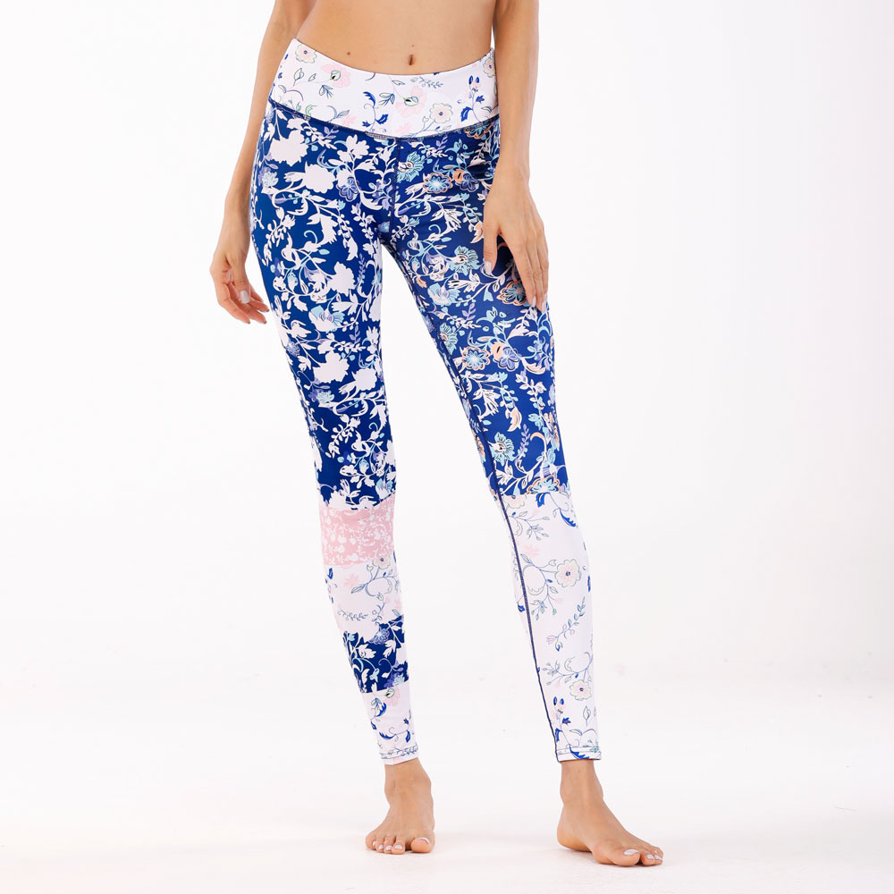 2018 Women High Quality   capris   High Waisted Floral Printing   Pants   Lady's Fitness Workout movement Leggings seventh Leggings
