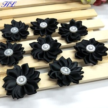 20pcs 38mm Black ribbon pearl flower handmade decoration sewing appliques A124