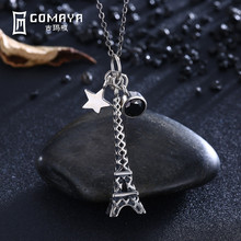 GOMAYA Vintage Retro Genuine 925 Sterling Silver Eiffel Tower with Star Pendant Necklace Antique Fine Jewelry Gift for Women stylish eiffel tower pendant necklace for women