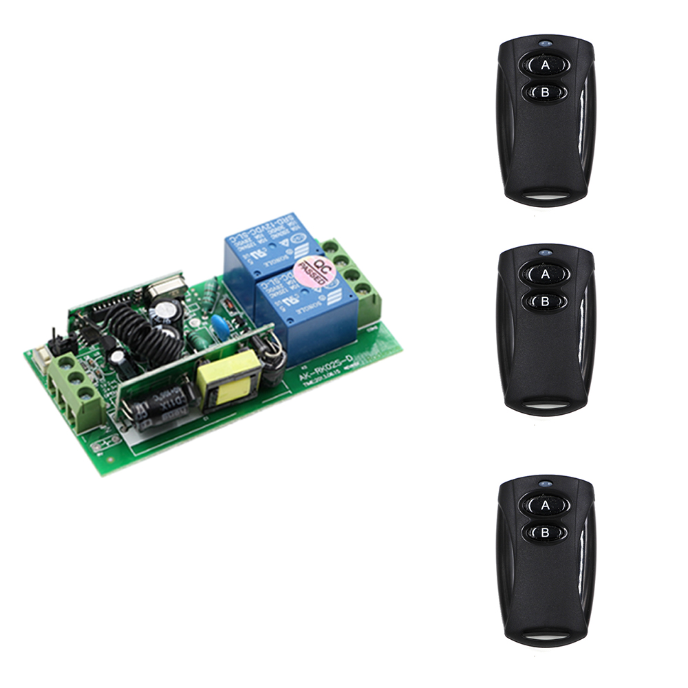 Best Price AC 85V-250V 2CH RF Wireless Remote Control Switch System(3 Transmitters+ 1Receiver) 10A Relay ON OFF 2Keys 315/433mhz big promotion 2keys 2ch 315 433mhz rf wireless remote control black transmitter without receiver on off