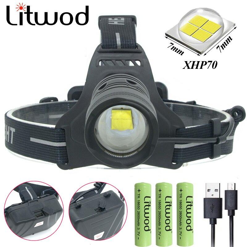 Фара налобный фонарь для верховой езды фонарь для рыбалки светодиодные лампы Litwod Zoom In / Out литий-ионный стробоскоп 8000lum