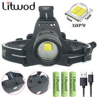 Litwod Z90 Litwod 2808 XHP70 head lamp Fishing Led headlamp 42920lum powerful Headlight Riding flashlight torch zoom Head light