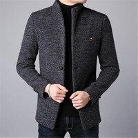 2018 Winter Thick Warm Wool Coat Mens Overcoat With Pocket Mens Coats Slim Fit Pea Coat Jacket