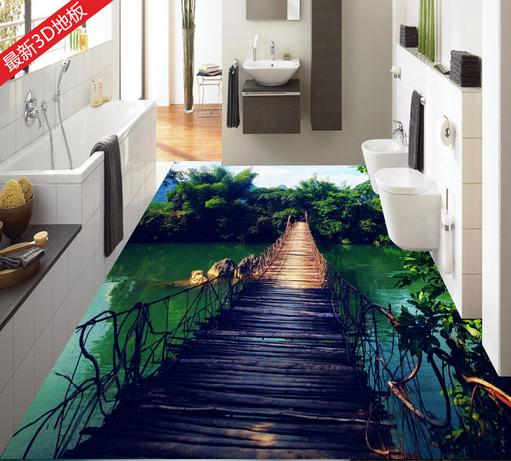 Customize 3d photo mural wall papers 3d floor art wooden for Bathroom floor mural sky