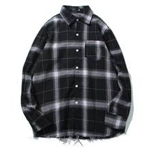 Spring Korean fashion simple long-sleeved plaid sanded casual thin section loose youth shirt free shipping