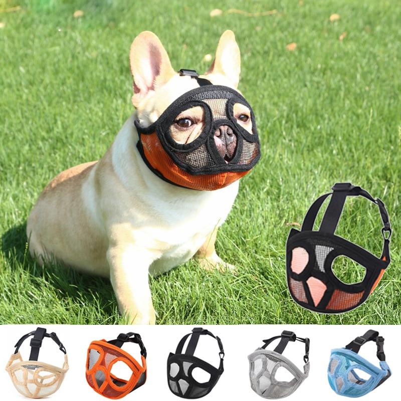 Short Snout Pet Dog Muzzles Adjustable Breathable Mesh French Bulldog Pug Mouth Muzzle Mask Anti Stop Barking Supplies