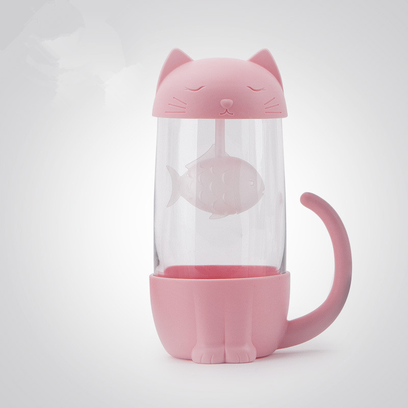 Cute Cat Glass Cup Tea Mug With Fish Infuser Strainer Filter Home Offices