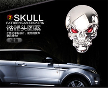 3D Metal Skull Sticker