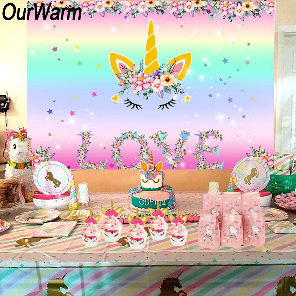 OurWarm Unicorn Party Unicornio Fiesta Birthday Decorations Kids Favors Baby Shower Girl Boy Supplies